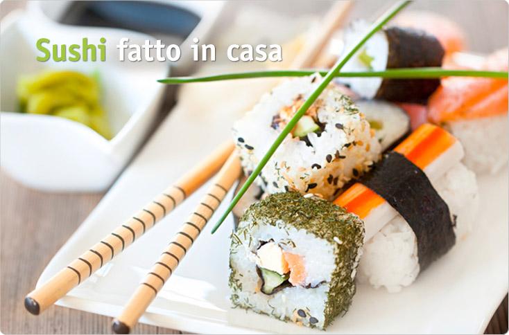 Piatto di sushi fatto in casa